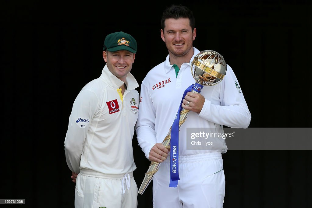 Michael Clarke of Australia and <a gi-track='captionPersonalityLinkClicked' href=/galleries/search?phrase=Graeme+Smith&family=editorial&specificpeople=193816 ng-click='$event.stopPropagation()'>Graeme Smith</a> of South Africa pose with the ICC Test Championship Mace during a captain's media call at The Gabba on November 8, 2012 in Brisbane, Australia.