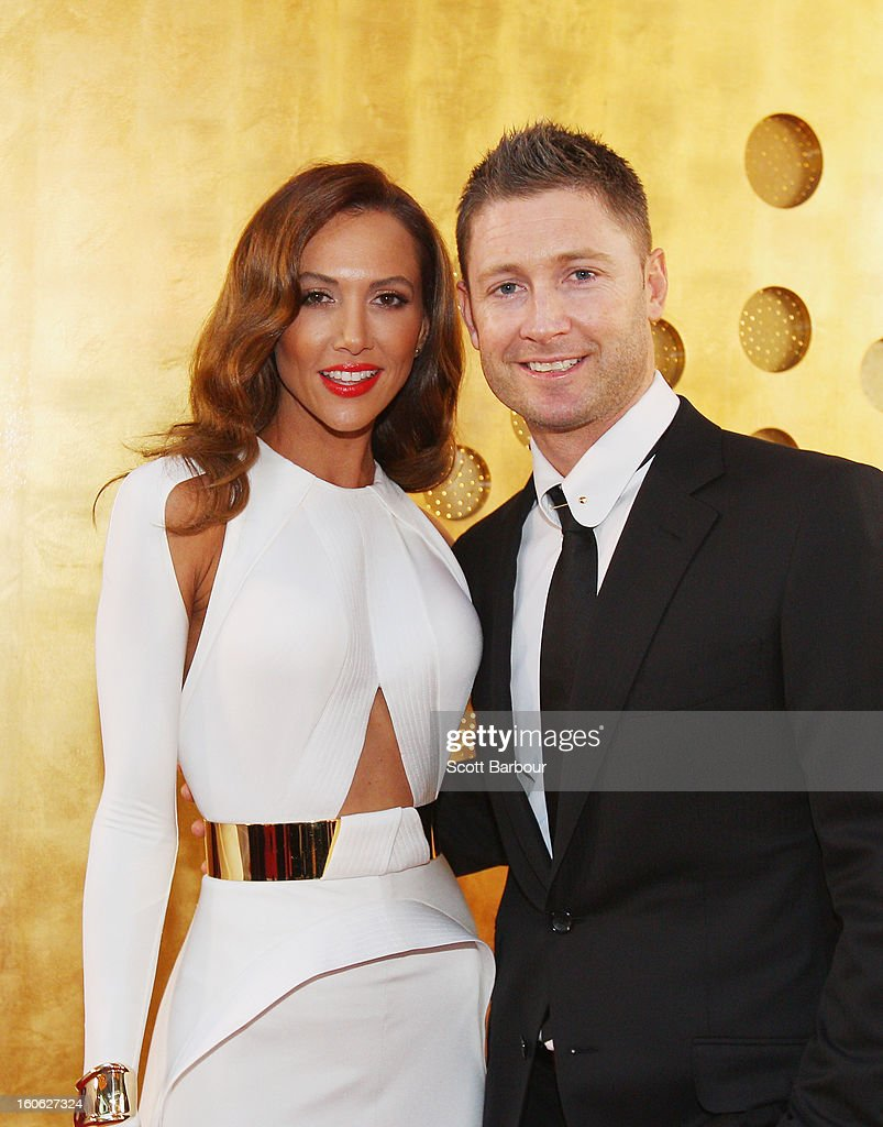 <a gi-track='captionPersonalityLinkClicked' href=/galleries/search?phrase=Michael+Clarke+-+Cricket+Player&family=editorial&specificpeople=175853 ng-click='$event.stopPropagation()'>Michael Clarke</a> of Australia and his wife Kyly Clarke arrive at the 2013 Allan Border Medal awards ceremony at Crown Palladium on February 4, 2013 in Melbourne, Australia.