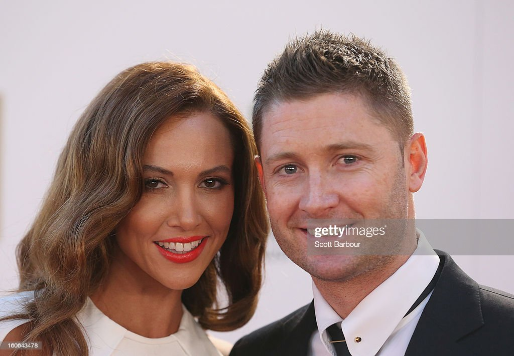 <a gi-track='captionPersonalityLinkClicked' href=/galleries/search?phrase=Michael+Clarke+-+Cricketspeler&family=editorial&specificpeople=175853 ng-click='$event.stopPropagation()'>Michael Clarke</a> of Australia and his wife Kyly Clarke arrive at the 2013 Allan Border Medal awards ceremony at Crown Palladium on February 4, 2013 in Melbourne, Australia.