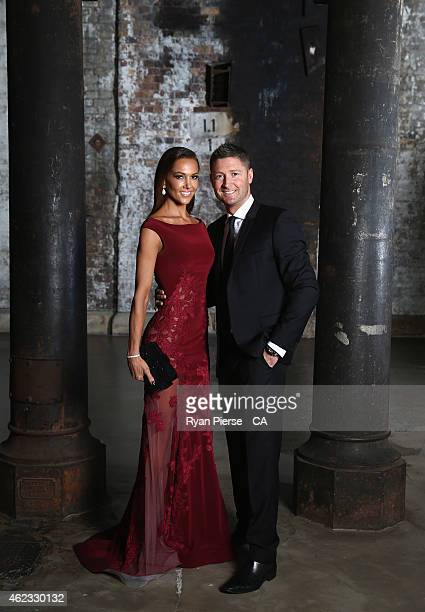 Michael Clarke of Australia and his wife Kyly Clarke pose ahead of the 2015 Allan Border Medal at Carriageworks on January 27 2015 in Sydney Australia
