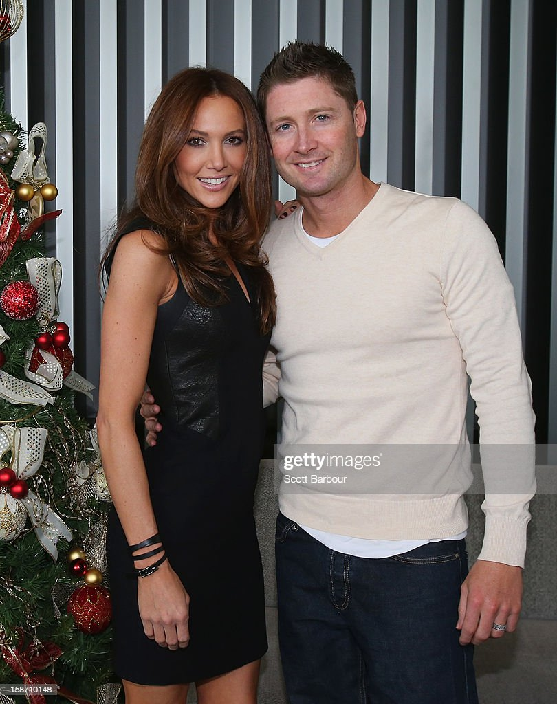 <a gi-track='captionPersonalityLinkClicked' href=/galleries/search?phrase=Michael+Clarke+-+Cricket+Player&family=editorial&specificpeople=175853 ng-click='$event.stopPropagation()'>Michael Clarke</a> of Australia and his wife Kyly Clarke pose next to a Christmas tree ahead of a Cricket Australia Christmas Day lunch at Crown Entertainment Complex on December 25, 2012 in Melbourne, Australia.