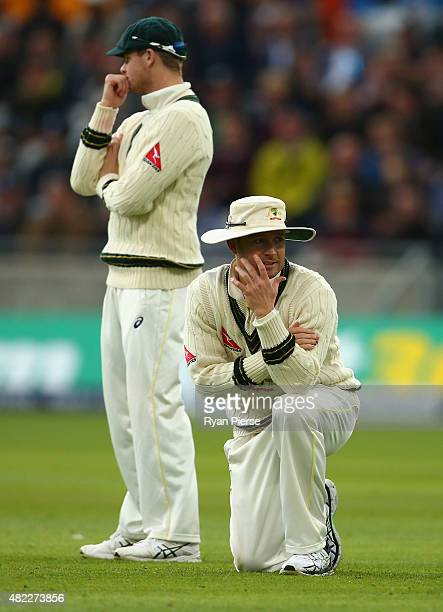 Michael Clarke of Australia and Steve Smith of Australia look on during day one of the 3rd Investec Ashes Test match between England and Australia at...