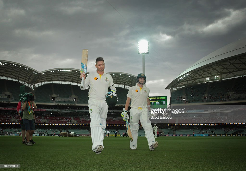 <a gi-track='captionPersonalityLinkClicked' href=/galleries/search?phrase=Michael+Clarke+-+Cricket+Player&family=editorial&specificpeople=175853 ng-click='$event.stopPropagation()'>Michael Clarke</a> of Australia and Steven Smith leave the field for a rain delay after Clarke reached his century during day two of the First Test match between Australia and India at Adelaide Oval on December 10, 2014 in Adelaide, Australia.