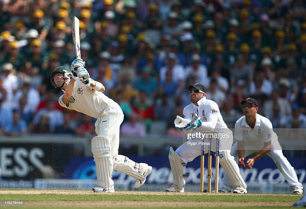 Michael Clarke of Australia bats as <a gi-track='captionPersonalityLinkClicked' href=/galleries/search?phrase=Matt+Prior+-+Cricketspeler&family=editorial&specificpeople=13652111 ng-click='$event.stopPropagation()'>Matt Prior</a> of England keeps wicket during day one of the 3rd Investec Ashes Test match between England and Australia at Old Trafford Cricket Ground on August 1, 2013 in Manchester, England.