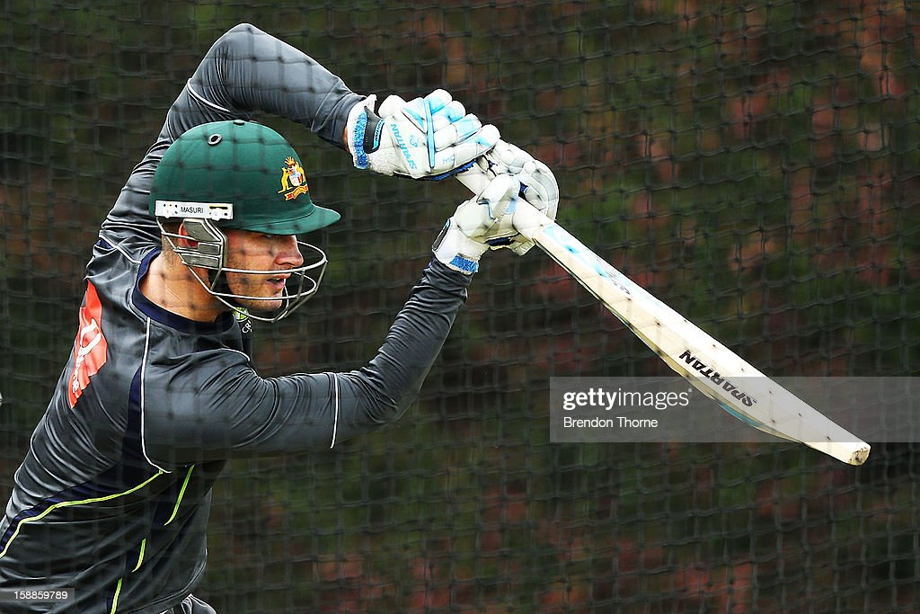 <a gi-track='captionPersonalityLinkClicked' href=/galleries/search?phrase=Michael+Clarke+-+Cricket+Player&family=editorial&specificpeople=175853 ng-click='$event.stopPropagation()'>Michael Clarke</a> of Australia bats during an Australian nets session at Sydney Cricket Ground on January 2, 2013 in Sydney, Australia.