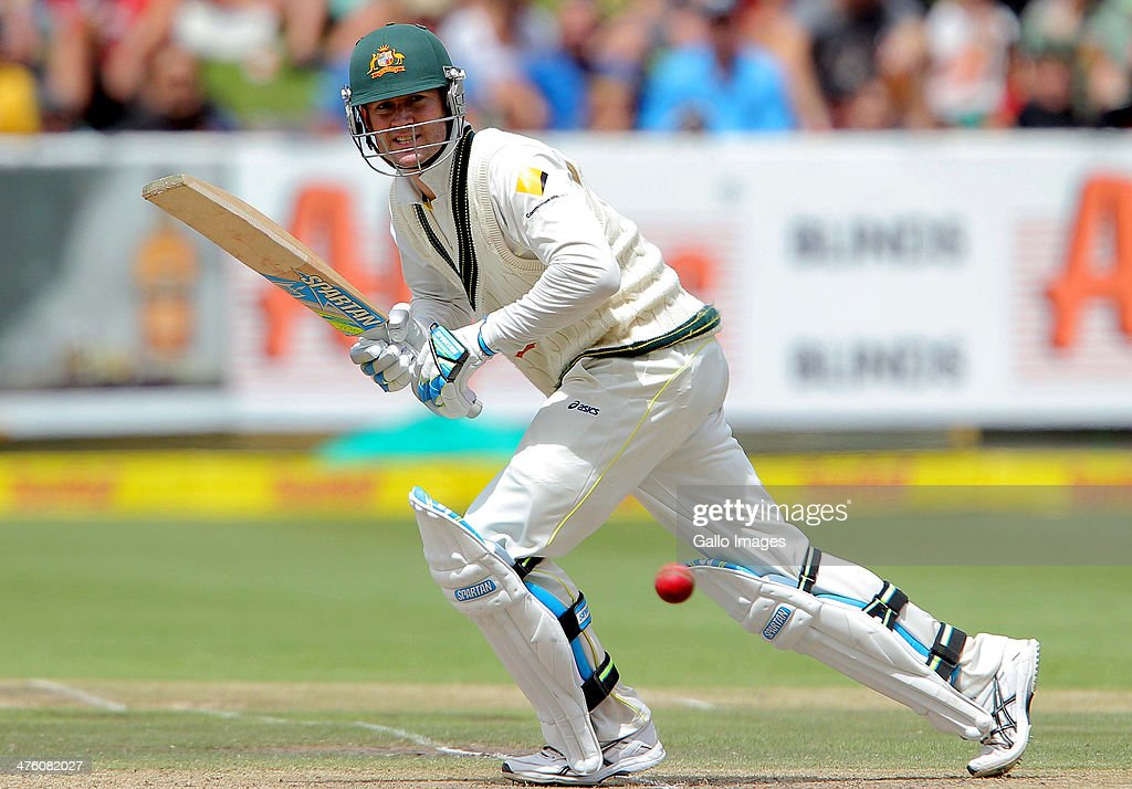 <a gi-track='captionPersonalityLinkClicked' href=/galleries/search?phrase=Michael+Clarke+-+Cricket+Player&family=editorial&specificpeople=175853 ng-click='$event.stopPropagation()'>Michael Clarke</a> of Australia bats during day 2 of the 3rd Test match between South Africa and Australia at Sahara Park Newlands on March 02, 2014 in Cape Town, South Africa.