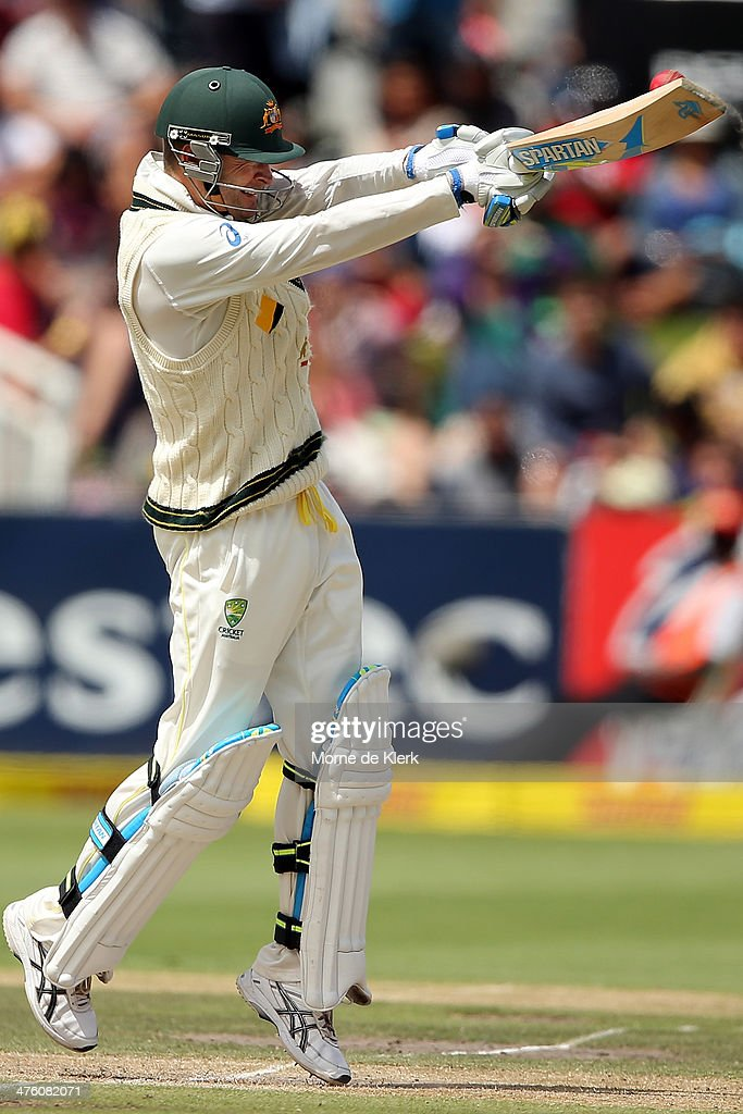 <a gi-track='captionPersonalityLinkClicked' href=/galleries/search?phrase=Michael+Clarke+-+Cricket+Player&family=editorial&specificpeople=175853 ng-click='$event.stopPropagation()'>Michael Clarke</a> of Australia bats during day 2 of the third test match between South Africa and Australia at Sahara Park Newlands on March 2, 2014 in Cape Town, South Africa.