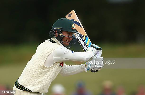 Michael Clarke of Australia bats during day one of the Tour Match between Derbyshire and Australia at The 3aaa County Ground on July 23 2015 in Derby...