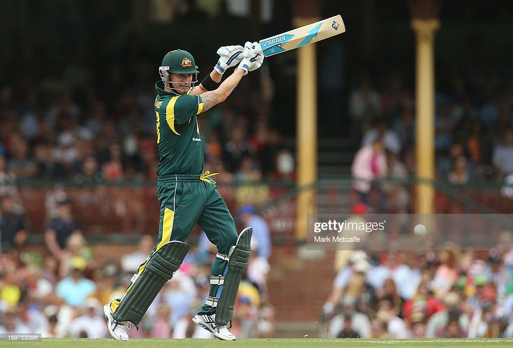 Michael Clarke of Australia bats during game four of the Commonwealth Bank one day international series between Australia and Sri Lanka at Sydney Cricket Ground on January 20, 2013 in Sydney, Australia.