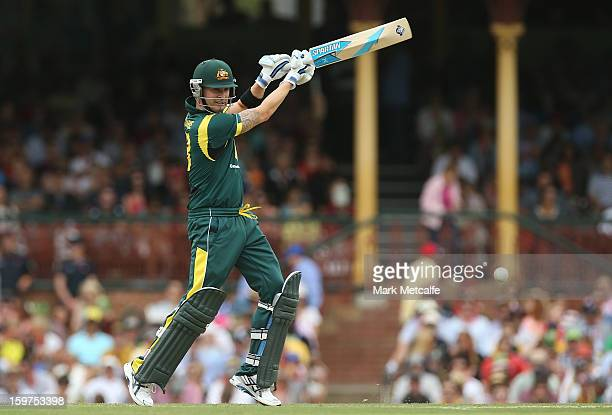 Michael Clarke of Australia bats during game four of the Commonwealth Bank one day international series between Australia and Sri Lanka at Sydney...