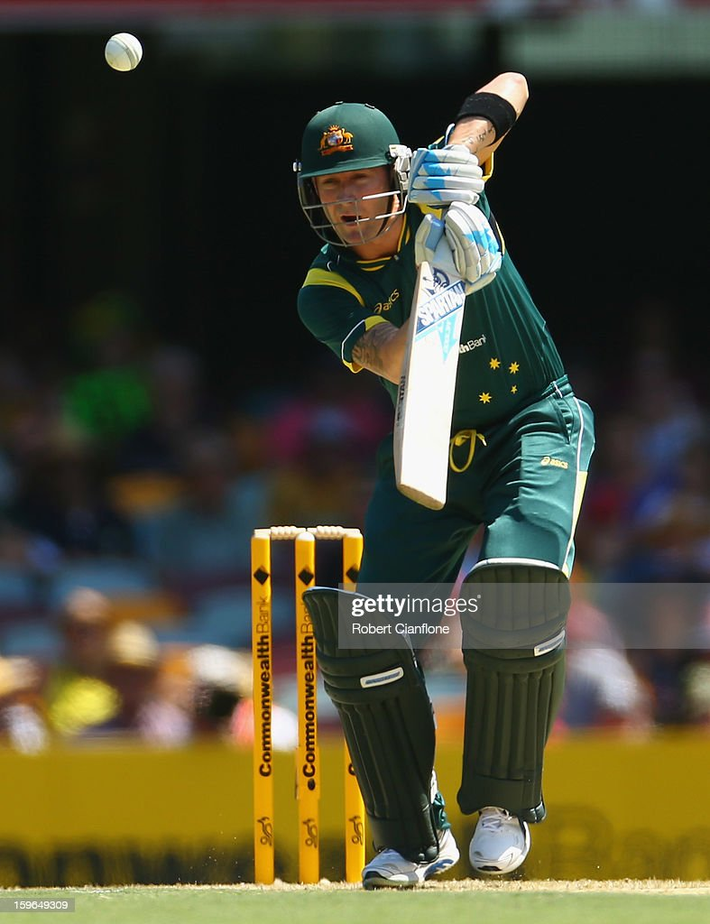 Michael Clarke of Australia bats during game three of the Commonwealth Bank One Day International Series between Australia and Sri Lanka at The Gabba on January 18, 2013 in Brisbane, Australia.