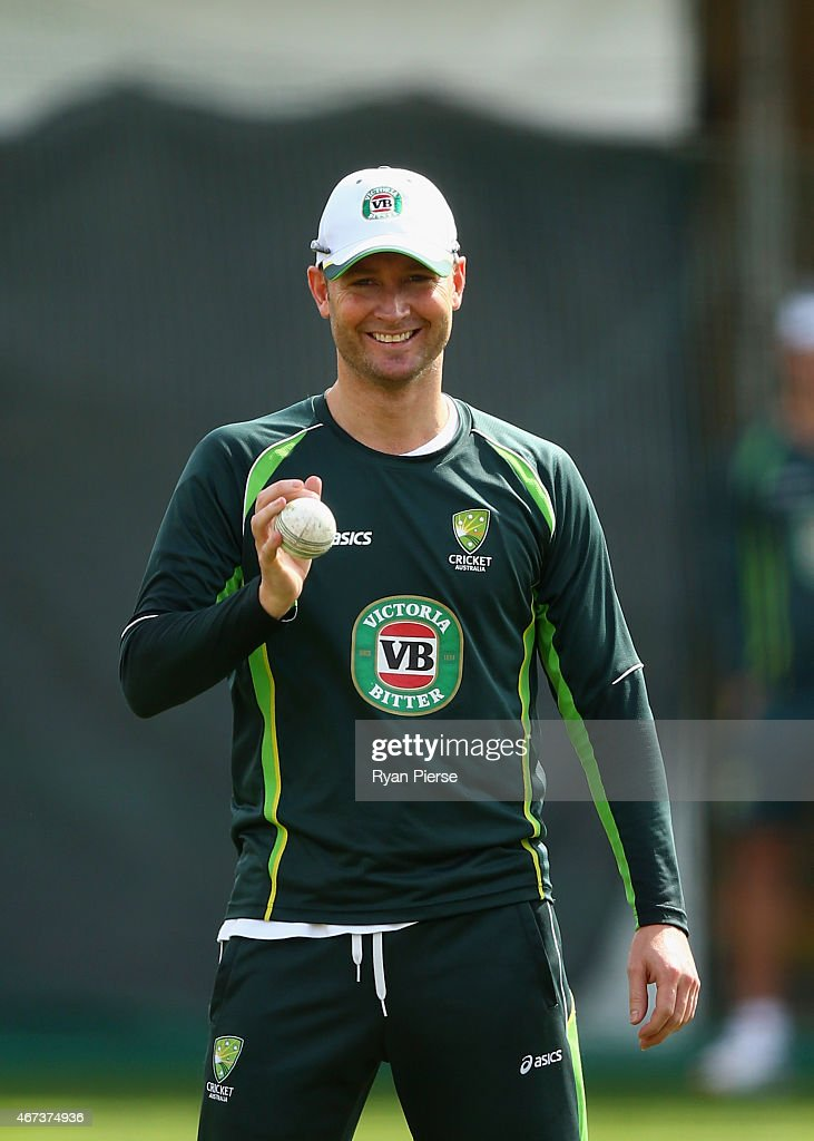 Michael Clarke of Australia bowls during an Australian nets session at Sydney Cricket Ground on March 24, 2015 in Sydney, Australia.