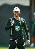 Michael Clarke of Australia bowls during an Australian nets session at Sydney Cricket Ground on March 24 2015 in Sydney Australia