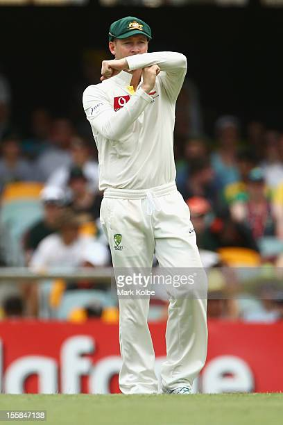 Michael Clarke of Australia calls for a review of the umpire's decision during day one of the First Test match between Australia and South Africa at...