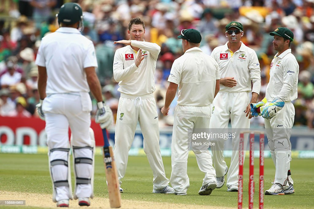 Michael Clarke of Australia calls for a third umpire review after unsucessfully appealing for the wicket of Jacques Kallis of South Africa only to have the decision over-turned by the third umpire giving Kallis out caught behind during day three of the Second Test Match between Australia and South Africa at Adelaide Oval on November 24, 2012 in Adelaide, Australia.
