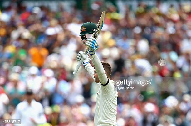 Michael Clarke of Australia celebrates after reaching his century during day two of the Second Ashes Test Match between Australia and England at...