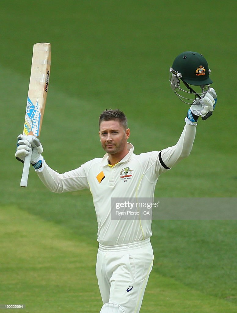 <a gi-track='captionPersonalityLinkClicked' href=/galleries/search?phrase=Michael+Clarke+-+Cricket+Player&family=editorial&specificpeople=175853 ng-click='$event.stopPropagation()'>Michael Clarke</a> of Australia celebrates after reaching his century during day two of the First Test match between Australia and India at Adelaide Oval on December 10, 2014 in Adelaide, Australia.