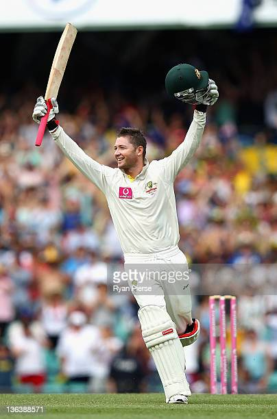Michael Clarke of Australia celebrates after reaching his double century during day two of the Second Test Match between Australia and India at the...