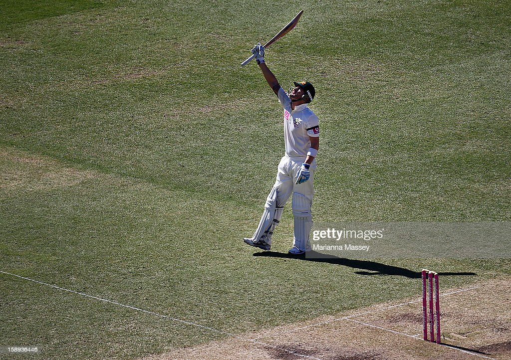 Michael Clarke of Australia celebrates after reaching his half century during day two of the Third Test match between Australia and Sri Lanka at Sydney Cricket Ground on January 4, 2013 in Sydney, Australia.