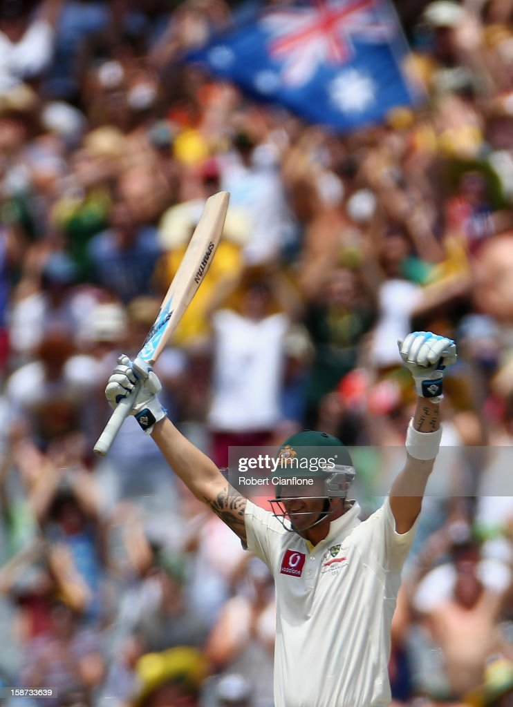 Michael Clarke of Australia celebrates after scoring his century during day two of the Second Test match between Australia and Sri Lanka at Melbourne Cricket Ground on December 27, 2012 in Melbourne, Australia.