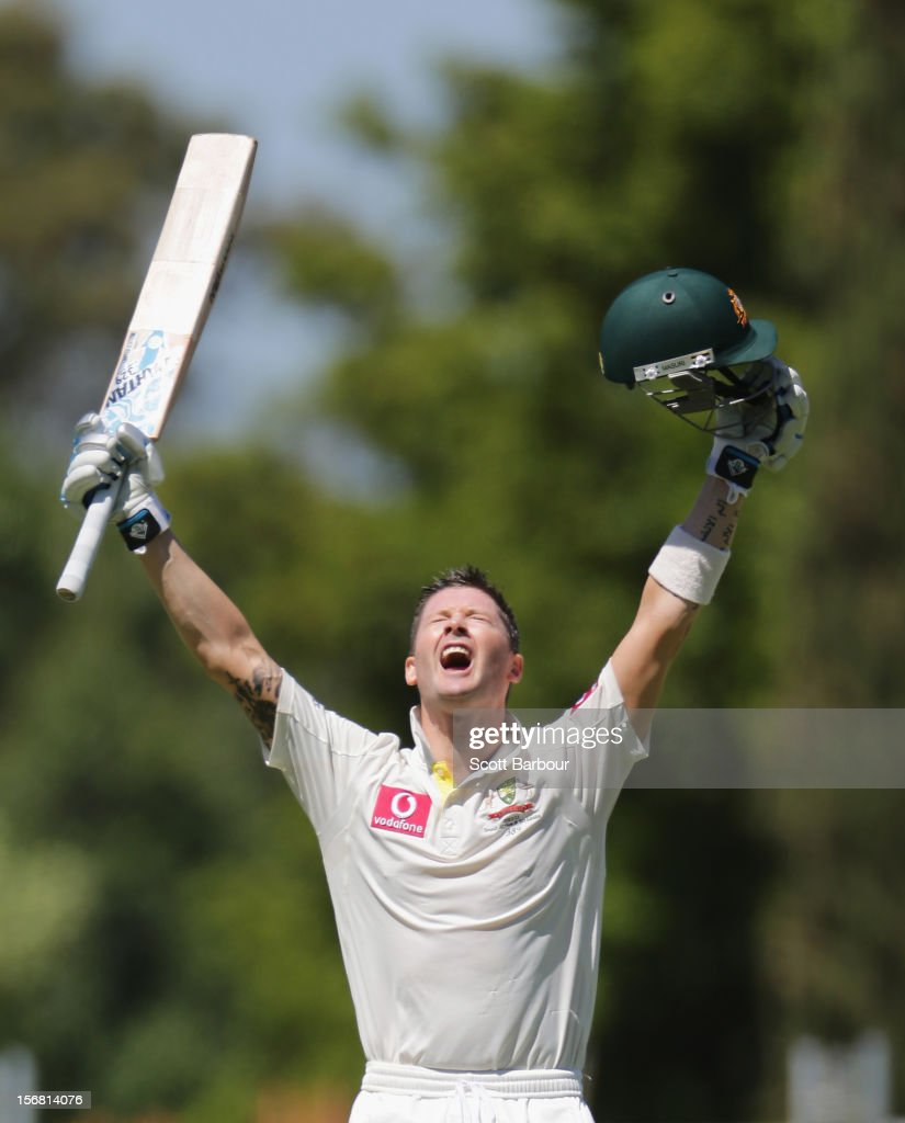 Michael Clarke of Australia celebrates as he reaches his century during day one of the 2nd Test match between Australia and South Africa at Adelaide Oval on November 22, 2012 in Adelaide, Australia.