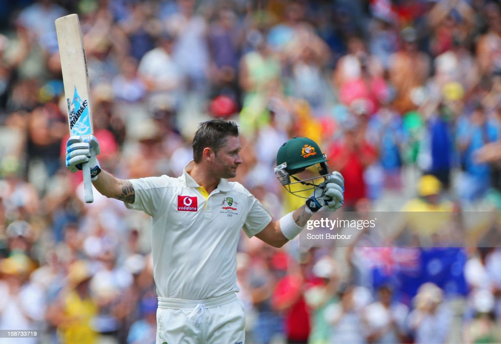 <a gi-track='captionPersonalityLinkClicked' href=/galleries/search?phrase=Michael+Clarke+-+Cricketspelare&family=editorial&specificpeople=175853 ng-click='$event.stopPropagation()'>Michael Clarke</a> of Australia celebrates as he reaches his century during day two of the Second Test match between Australia and Sri Lanka at Melbourne Cricket Ground on December 27, 2012 in Melbourne, Australia.