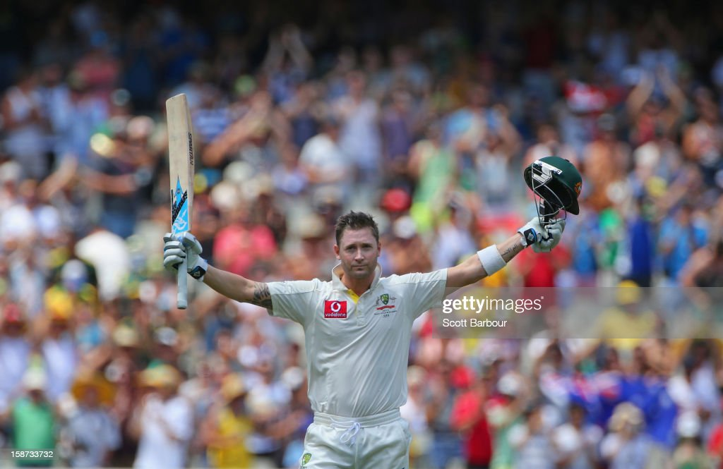 Michael Clarke of Australia celebrates as he reaches his century during day two of the Second Test match between Australia and Sri Lanka at Melbourne Cricket Ground on December 27, 2012 in Melbourne, Australia.