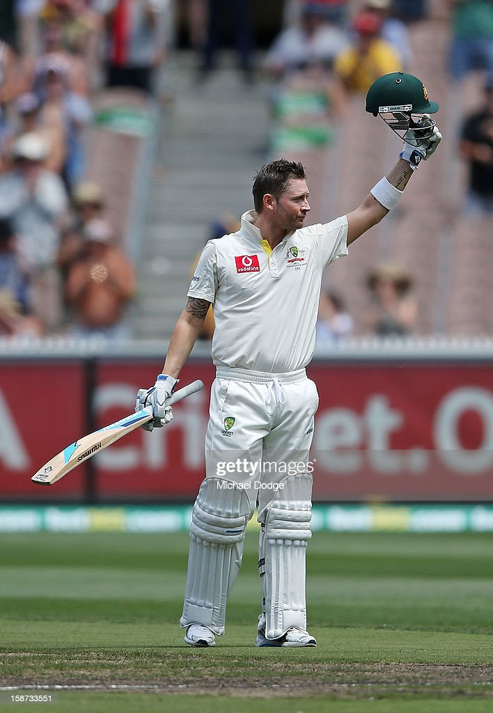 <a gi-track='captionPersonalityLinkClicked' href=/galleries/search?phrase=Michael+Clarke+-+Cricketspeler&family=editorial&specificpeople=175853 ng-click='$event.stopPropagation()'>Michael Clarke</a> of Australia celebrates his century during day two of the Second Test match between Australia and Sri Lanka at Melbourne Cricket Ground on December 27, 2012 in Melbourne, Australia.