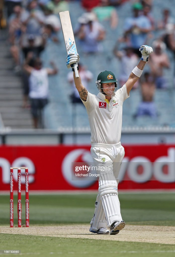 <a gi-track='captionPersonalityLinkClicked' href=/galleries/search?phrase=Michael+Clarke+-+Cricket+Player&family=editorial&specificpeople=175853 ng-click='$event.stopPropagation()'>Michael Clarke</a> of Australia celebrates his century during day two of the Second Test match between Australia and Sri Lanka at Melbourne Cricket Ground on December 27, 2012 in Melbourne, Australia.