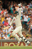 Michael Clarke of Australia celebrates his double century during day two of the Second Test Match between Australia and India at Sydney Cricket...
