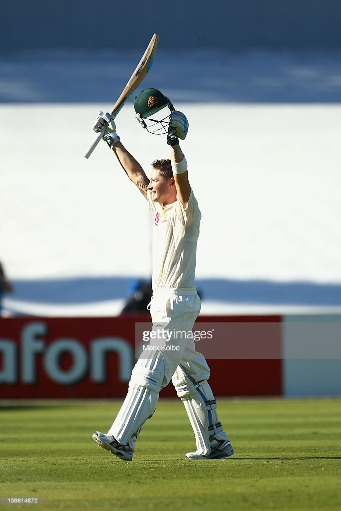 Michael Clarke of Australia celebrates his double century during day one of the 2nd Test match between Australia and South Africa at Adelaide Oval on November 22, 2012 in Adelaide, Australia.