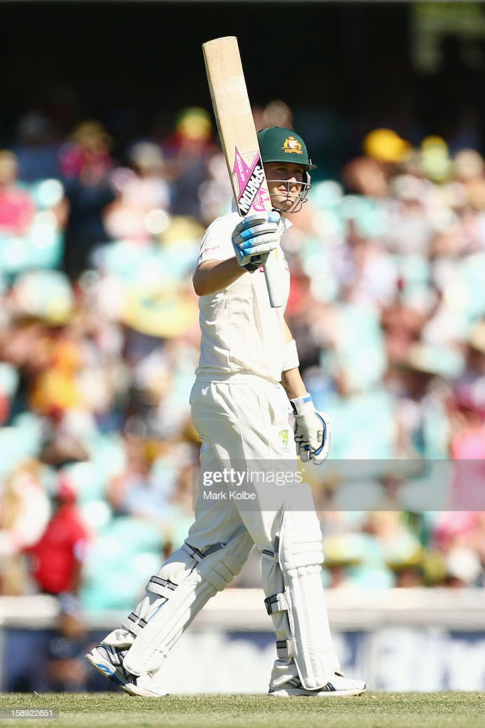Michael Clarke of Australia celebrates scoring his half century during day two of the Third Test match between Australia and Sri Lanka at Sydney Cricket Ground on January 4, 2013 in Sydney, Australia.