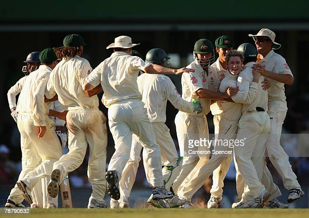 Michael Clarke of Australia celebrates taking the wicket of RP Singh of India for lbw during day of the Second Test match between Australia and India...