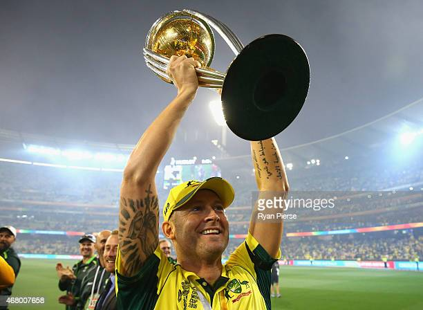 Michael Clarke of Australia celebrates with the trophy during the 2015 ICC Cricket World Cup final match between Australia and New Zealand at...