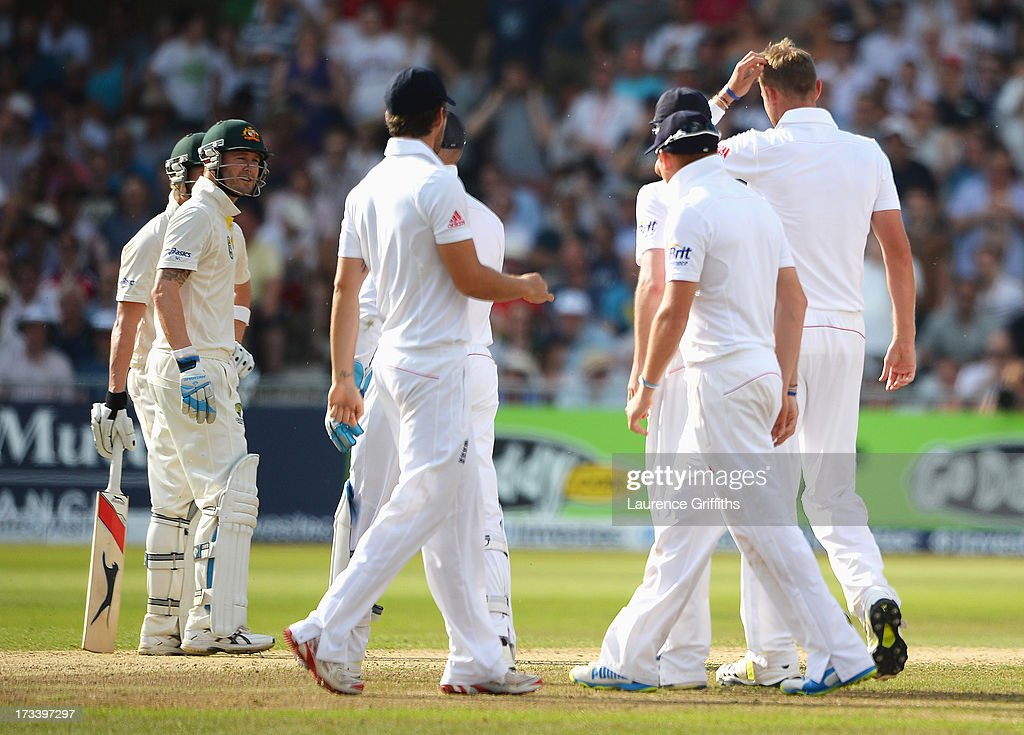 Michael Clarke of Australia exchanges words with <a gi-track='captionPersonalityLinkClicked' href=/galleries/search?phrase=Stuart+Broad&family=editorial&specificpeople=574360 ng-click='$event.stopPropagation()'>Stuart Broad</a> of England shortly before he was given out after a referral during day four of the 1st Investec Ashes Test match between England and Australia at Trent Bridge Cricket Ground on July 13, 2013 in Nottingham, England.