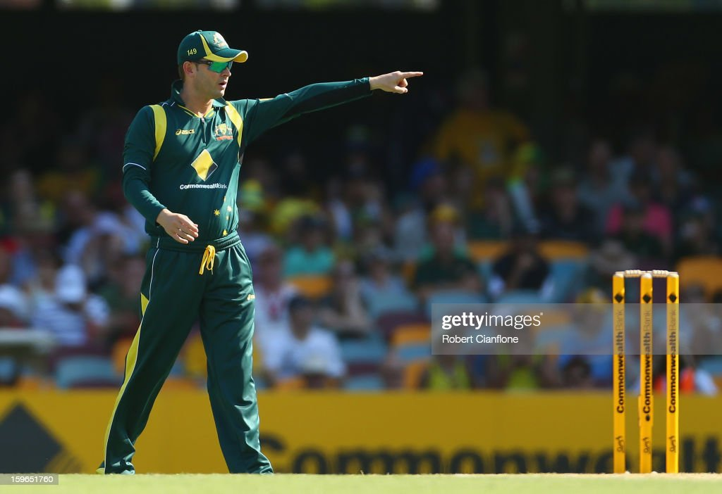 Michael Clarke of Australia gestures during game three of the Commonwealth Bank One Day International Series between Australia and Sri Lanka at The Gabba on January 18, 2013 in Brisbane, Australia.