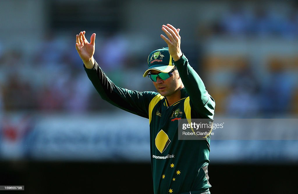 <a gi-track='captionPersonalityLinkClicked' href=/galleries/search?phrase=Michael+Clarke+-+Cricket+Player&family=editorial&specificpeople=175853 ng-click='$event.stopPropagation()'>Michael Clarke</a> of Australia gestures during game three of the Commonwealth Bank One Day International Series between Australia and Sri Lanka at The Gabba on January 18, 2013 in Brisbane, Australia.