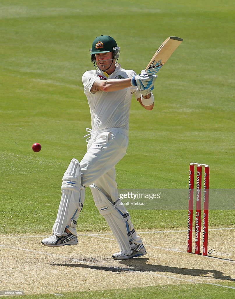 Michael Clarke of Australia hits a boundary during day two of the Second Test match between Australia and South Africa at Adelaide Oval on November 23, 2012 in Adelaide, Australia.