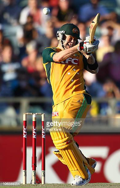 Michael Clarke of Australia hits out during the Twenty20 International match between Australia and Sri Lanka at WACA on October 31 2010 in Perth...