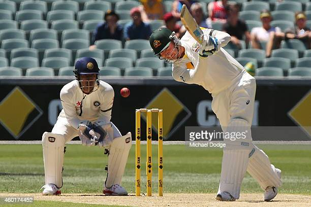 Michael Clarke of Australia hits the ball during day one of the First Test match between Australia and India at Adelaide Oval on December 9 2014 in...