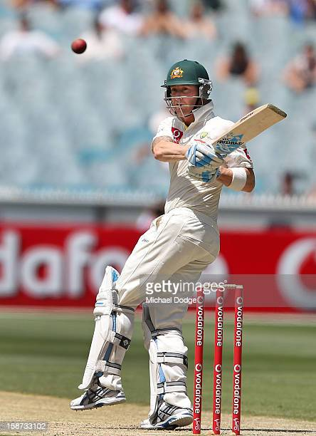Michael Clarke of Australia hits the ball during day two of the Second Test match between Australia and Sri Lanka at Melbourne Cricket Ground on...