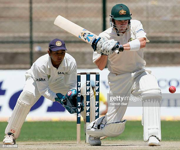 Michael Clarke of Australia in action during day two of the First Test between India and Australia played at the Chinnaswamy Stadium on October 7...