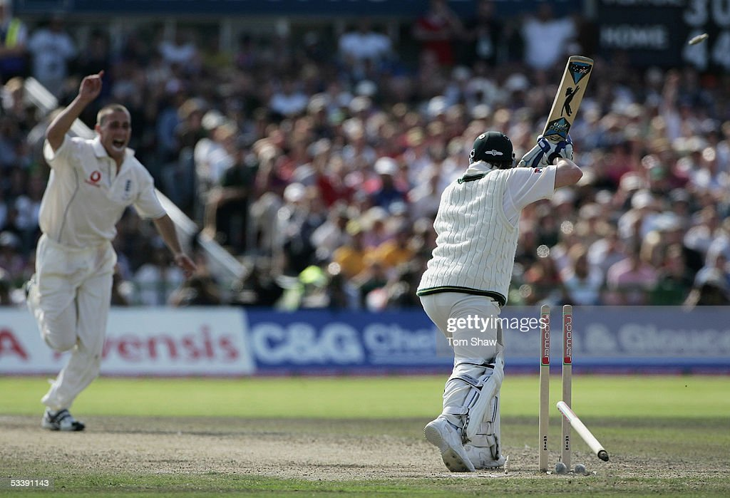 Michael Clarke of Australia is bowled out after leaving a delivery from Simon Jones of England during day five of the Third npower Ashes Test match...