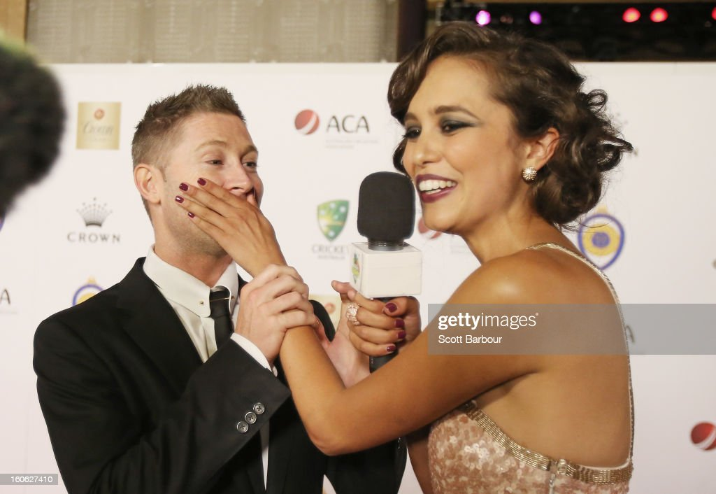 Michael Clarke of Australia is interviewed by Amberley Lobo as he arrives at the 2013 Allan Border Medal awards ceremony at Crown Palladium on February 4, 2013 in Melbourne, Australia.