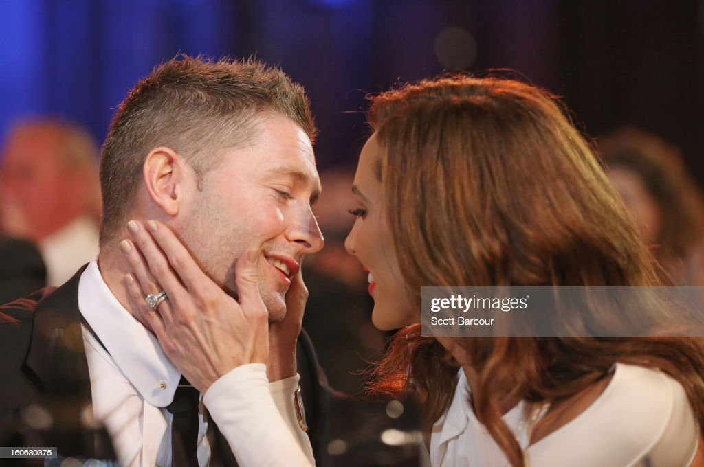 <a gi-track='captionPersonalityLinkClicked' href=/galleries/search?phrase=Michael+Clarke+-+Cricket+Player&family=editorial&specificpeople=175853 ng-click='$event.stopPropagation()'>Michael Clarke</a> of Australia is kissed by his wife Kyly Clarke after winning the Allan Border Medal during the 2013 Allan Border Medal awards ceremony at Crown Palladium on February 4, 2013 in Melbourne, Australia.