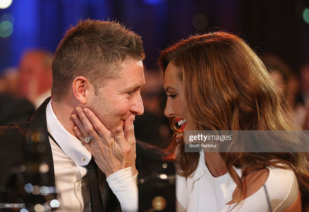 Michael Clarke of Australia is kissed by his wife Kyly Clarke after winning the Allan Border Medal during the 2013 Allan Border Medal awards ceremony at Crown Palladium on February 4, 2013 in Melbourne, Australia.