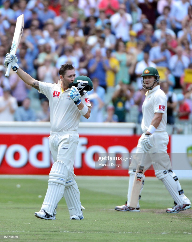 Michael Clarke of Australia kisses his helmut after scoring his century during day two of the Second Test match between Australia and Sri Lanka at Melbourne Cricket Ground on December 27, 2012 in Melbourne, Australia.