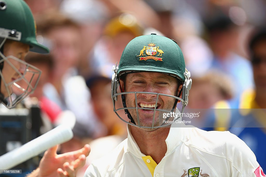 Michael Clarke of Australia laughs with Shane Watson after the lunch break during day two of the Second Test match between Australia and Sri Lanka at Melbourne Cricket Ground on December 27, 2012 in Melbourne, Australia.