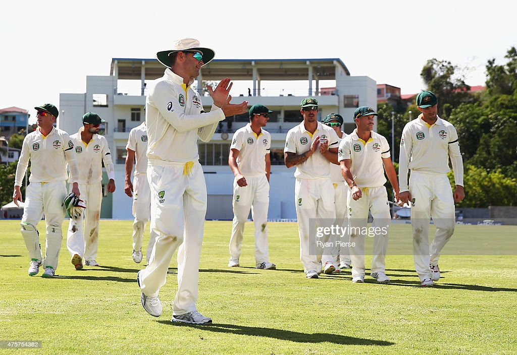 <a gi-track='captionPersonalityLinkClicked' href=/galleries/search?phrase=Michael+Clarke+-+Cricket+Player&family=editorial&specificpeople=175853 ng-click='$event.stopPropagation()'>Michael Clarke</a> of Australia leads his team from the ground after Australia bowled West Indies out for 148 runs during day one of the First Test match between Australia and the West Indies at Windsor Park on June 3, 2015 in Roseau, Dominica.