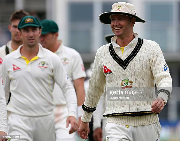 Michael Clarke of Australia leads his team off at the end of play on day four of the tour match between Kent and Australia at The Spitfire Ground St...